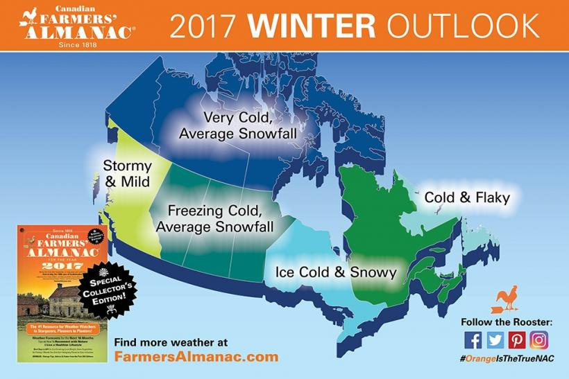 Canadian Farmer's Almanac 2017 Winter Predictions